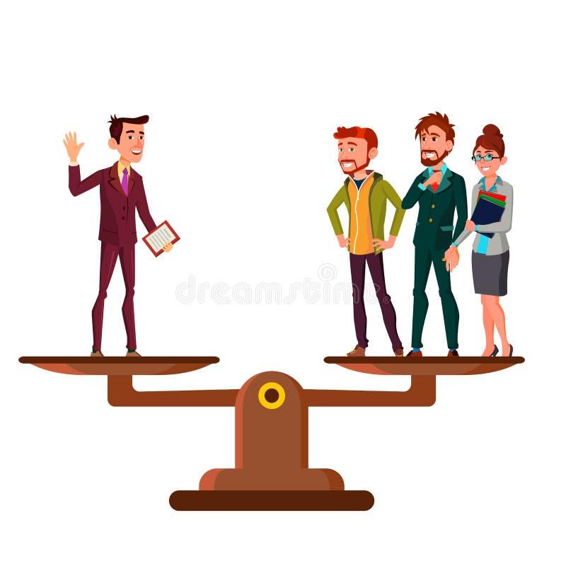 Mężczyzna Versus grupa ludzi stojak Na skalach W równy równowagi kreskówki Wektorowej Płaskiej ilustracji royalty ilustracja