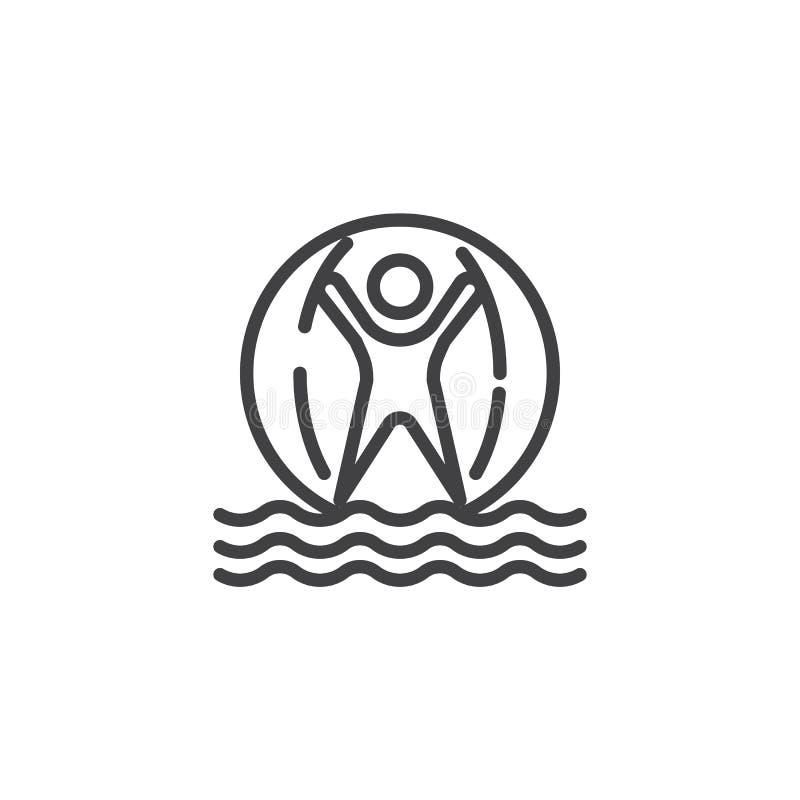 Mężczyzna wśrodku wodnej chodzącej piłki linii ikony royalty ilustracja