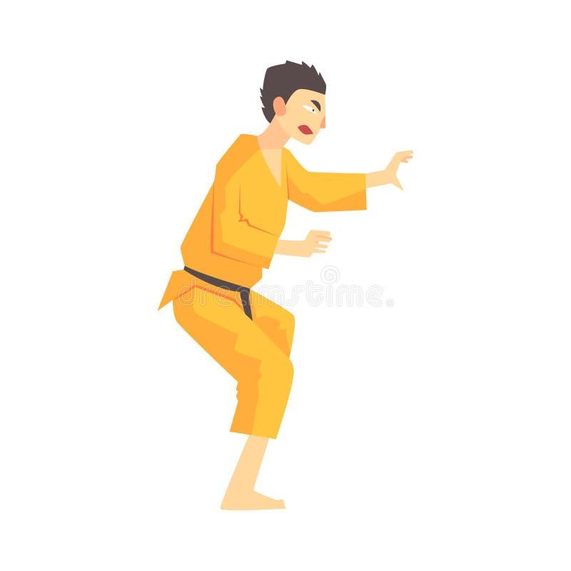 Mężczyzna W Żółtym Kimonowym Kung Fu sztuk samoobrony wojowniku, Walczący sporty Fachowi W Tradycyjny Walczący Sportive ilustracja wektor
