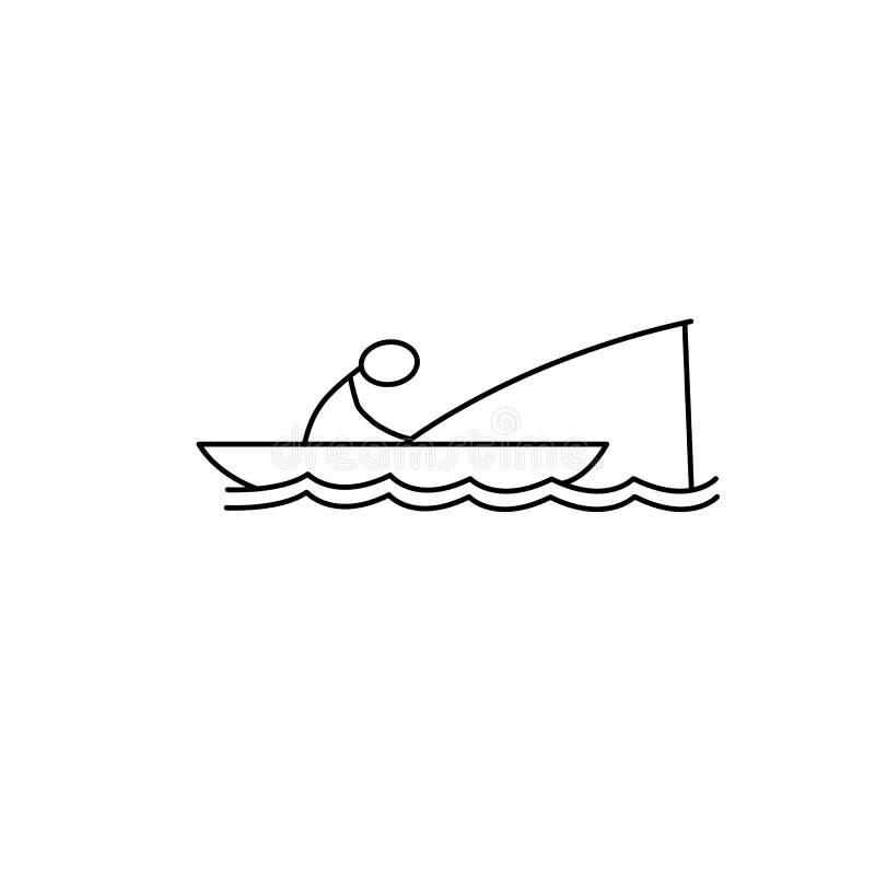 Mężczyzna w Łódkowatej połów ikonie ilustracji