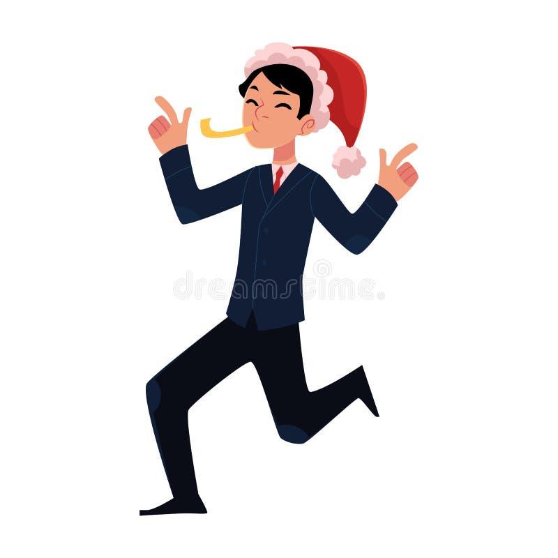 Mężczyzna w Święty Mikołaj dmuchania kapeluszowym gwizd, korporacyjny przyjęcie gwiazdkowe ilustracja wektor