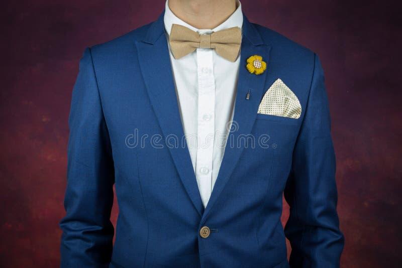 Mężczyzna w błękitnym kostiumu bowtie, broszka, chusteczka obraz royalty free