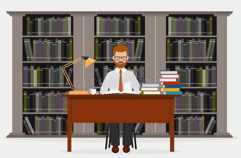 Mężczyzna w bibliotece jabłko rezerwuje pojęcia edukaci czerwień Czytający w bibliotece wektorową ilustrację ilustracja wektor