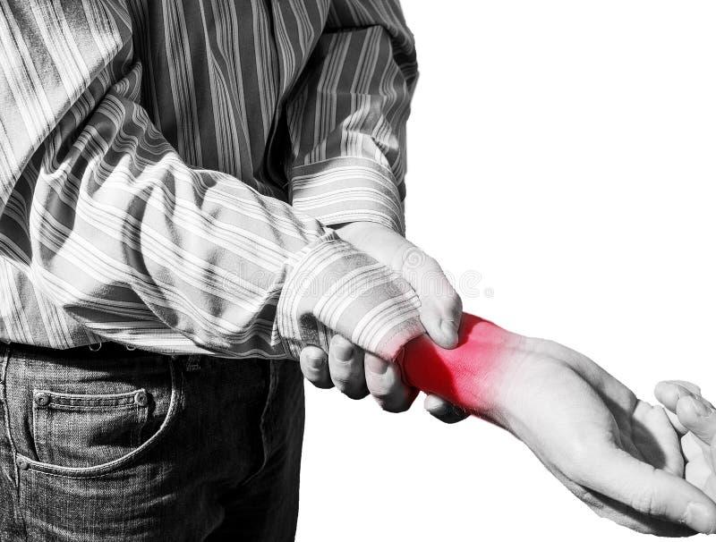 Mężczyzna w biznesowej koszula cierpiał od nadgarstku bólu, artretyzm zdjęcie stock