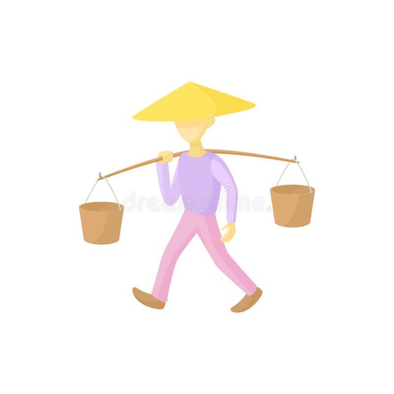 Mężczyzna w conical kapeluszu niesie wiadro ikonę royalty ilustracja
