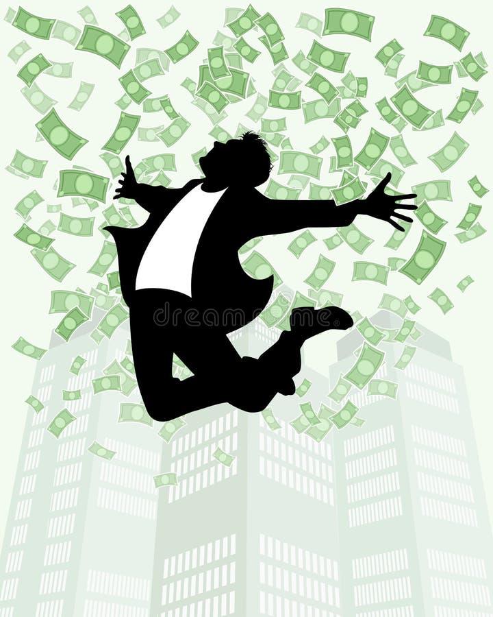 Mężczyzna w deszczu pieniądze royalty ilustracja
