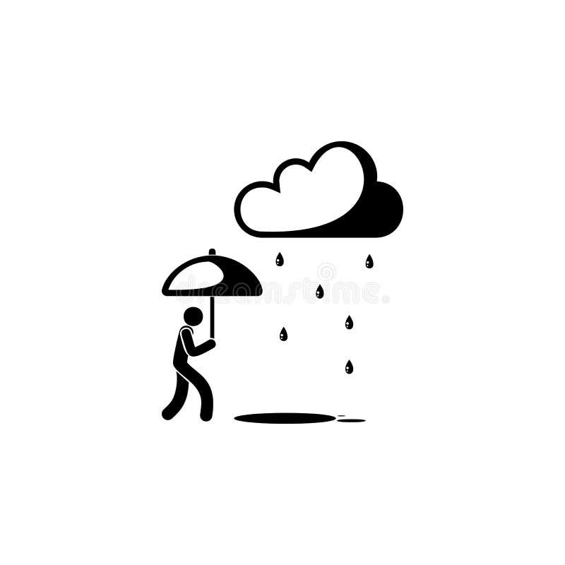 mężczyzna w deszczu z parasolową ikoną Element pogodowi elementy ilustracyjni Premii ilości graficznego projekta ikona Znaki i sy ilustracja wektor