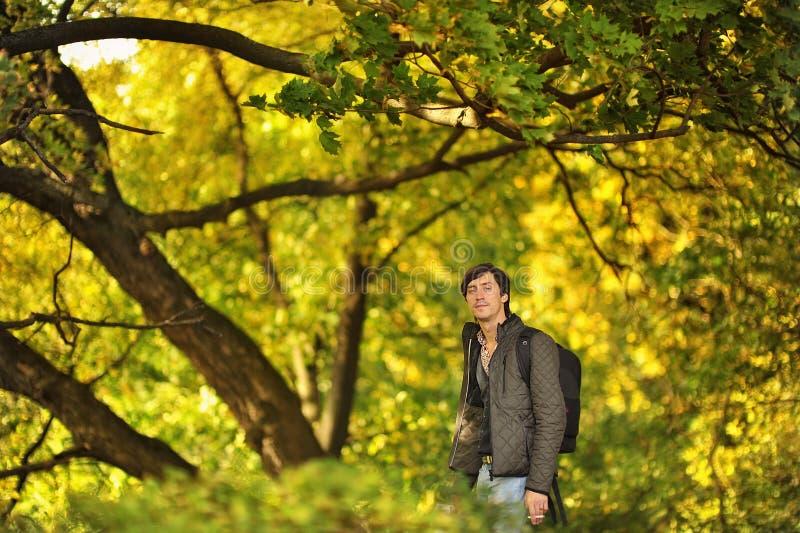 Mężczyzna w drewnach zdjęcia stock