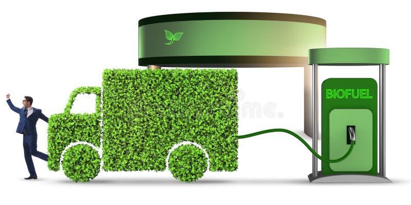 Mężczyzna w ecofuel pojęciu dla doręczeniowych pojazdów royalty ilustracja
