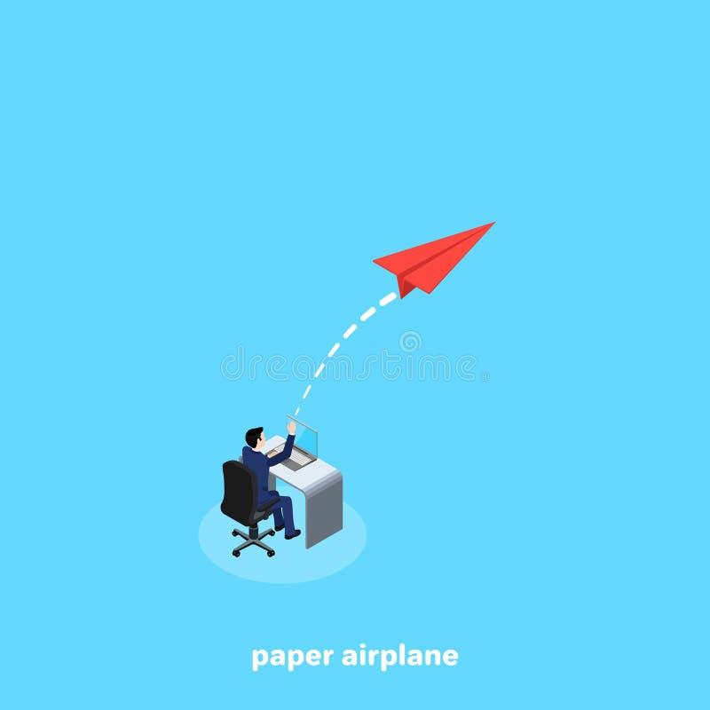 Mężczyzna w garnituru obsiadaniu przy jego biurkiem wszczyna papierowego samolot ilustracji