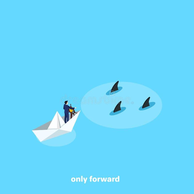 Mężczyzna w garniturze żegluje na papierowej łodzi spotkanie niebezpieczeństwa ilustracja wektor