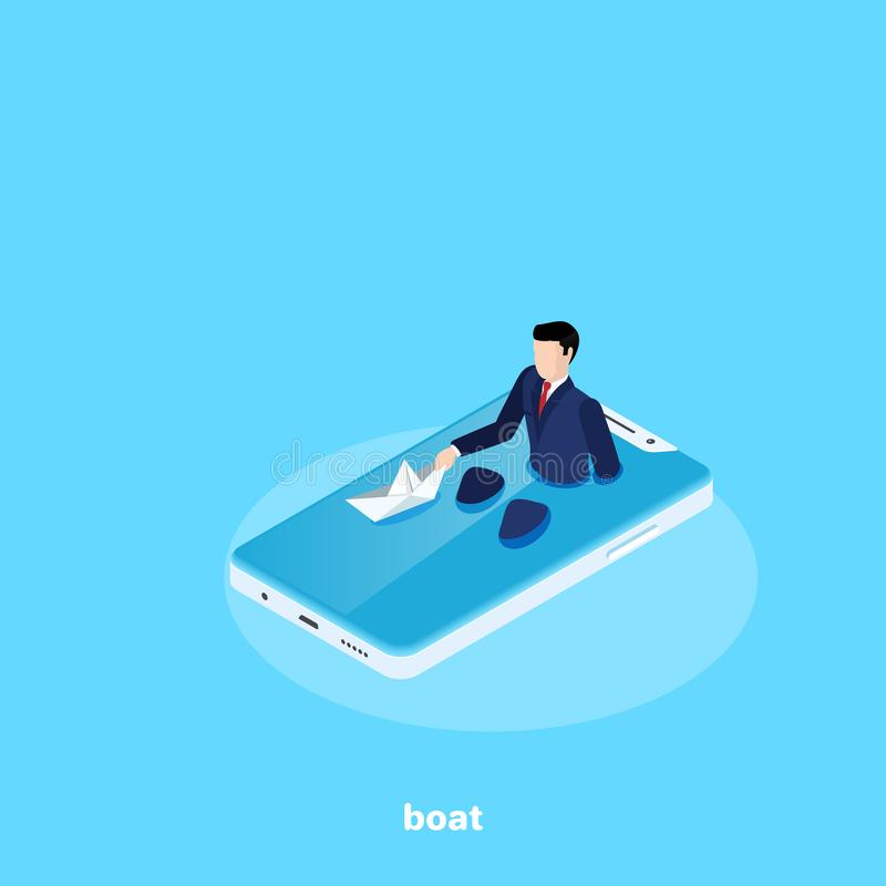 Mężczyzna w garniturze siedzi w smartphone ` s ekranie w łazience i wszczyna papierową łódź jak royalty ilustracja