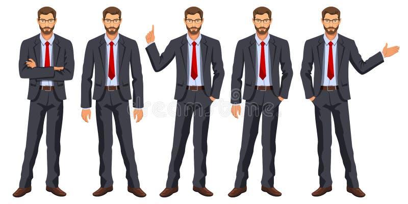 Mężczyzna w garniturze z krawatem Brodaty facet, gestykuluje ilustracji