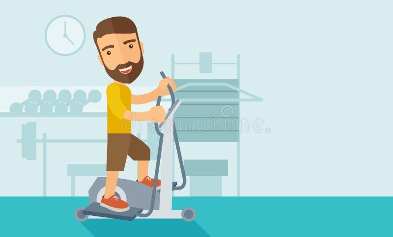 Mężczyzna w gym sporta treningu ćwiczeniach ilustracji