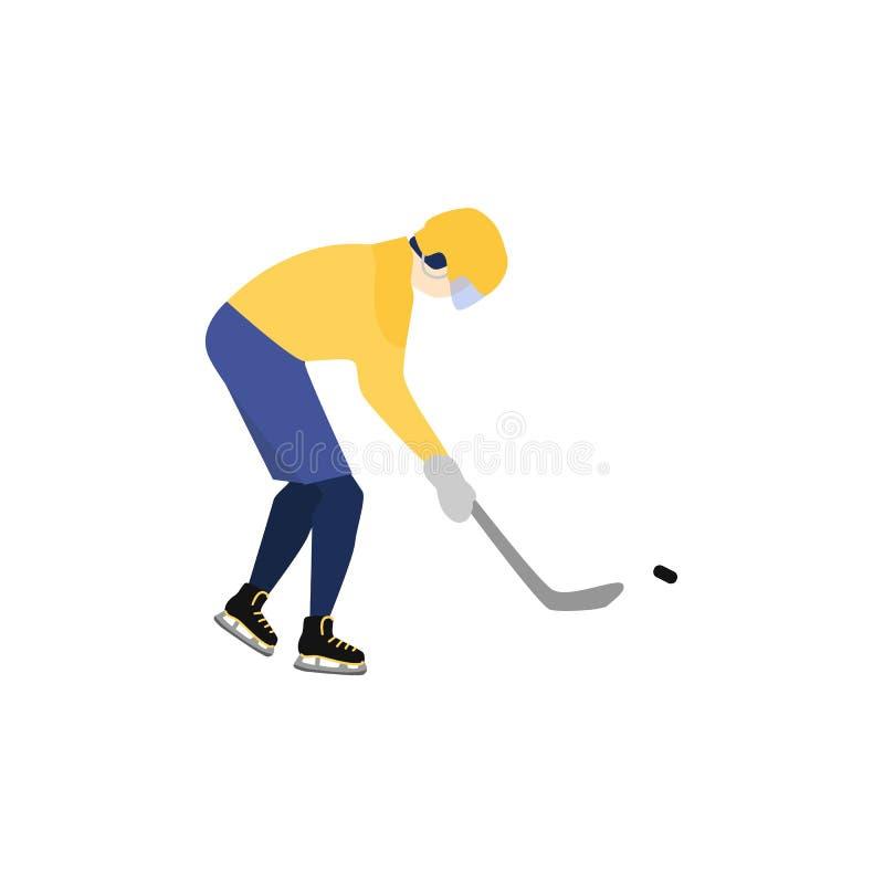 Mężczyzna w hełmie i mundur bawić się hokeja royalty ilustracja