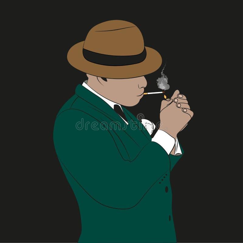 Mężczyzna w kapeluszu dymi papieros royalty ilustracja