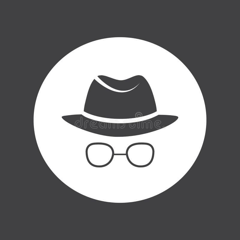 mężczyzna w kapeluszu i szkłach detektywi szpieg ilustracji