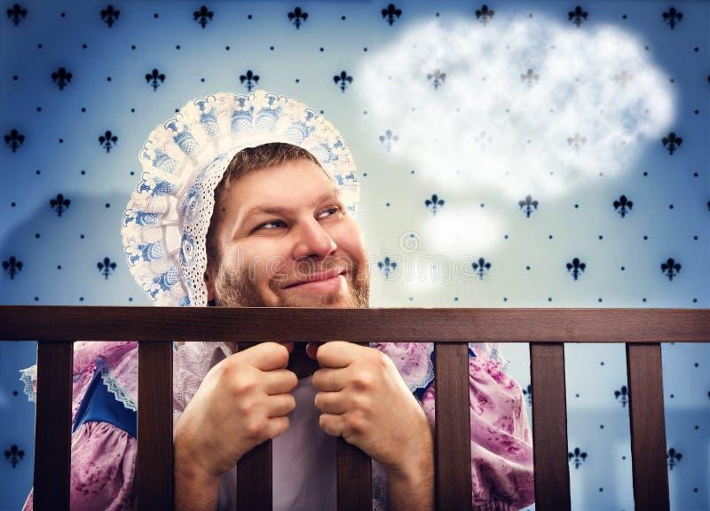 Mężczyzna w kojec marzy zdjęcie stock