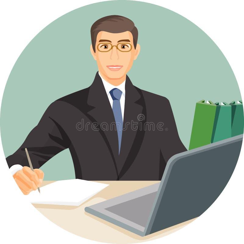 Mężczyzna w kostiumu obsiadaniu przy stołem za komputerowym notatnika wektorem royalty ilustracja