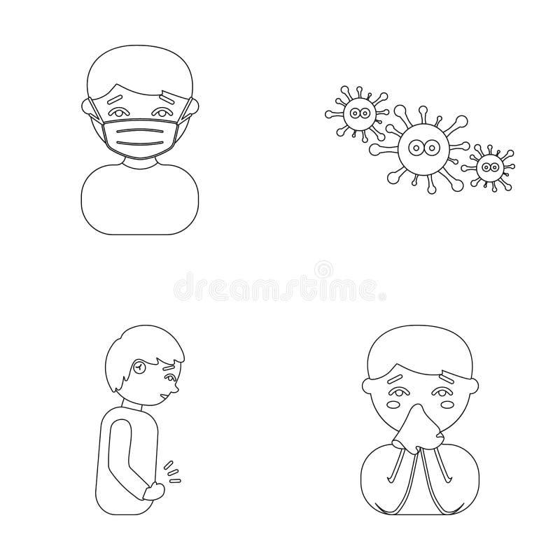 Mężczyzna w medycznej masce, mężczyzna chłopiec z chusteczką który stomachache, wirusy, zarazki, bakterie Choroba set ilustracji