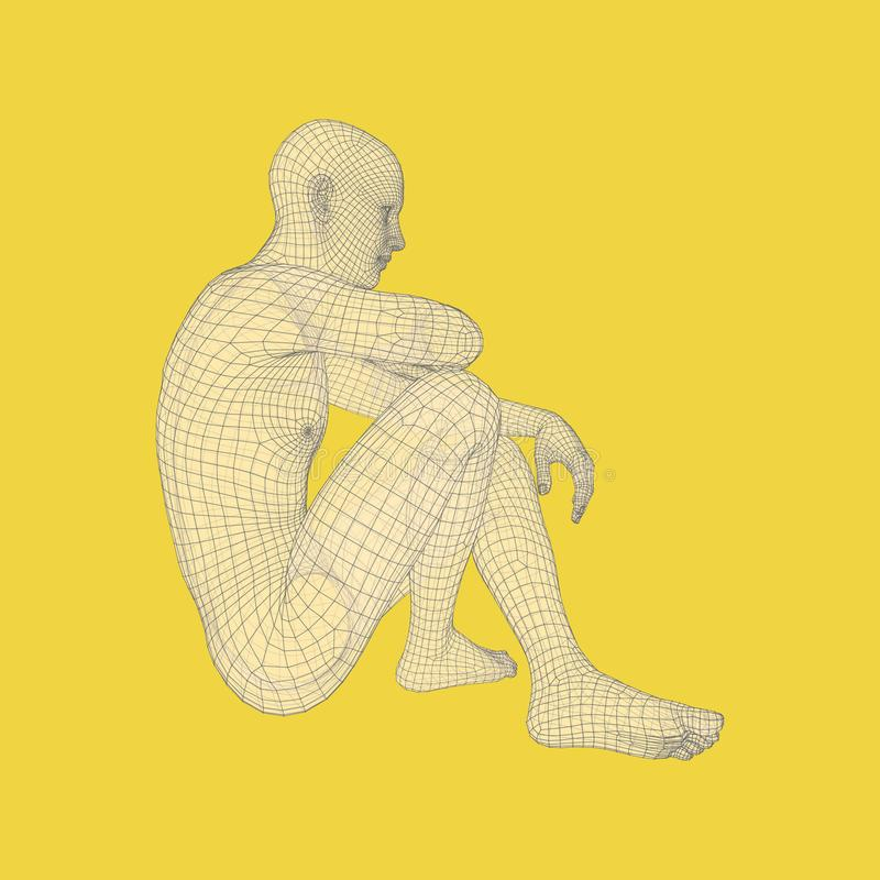 Mężczyzna w myśliciel pozie 3D model mężczyzna Ciało Ludzkie drutu model Psychologii lub filozofii wektoru ilustracja royalty ilustracja