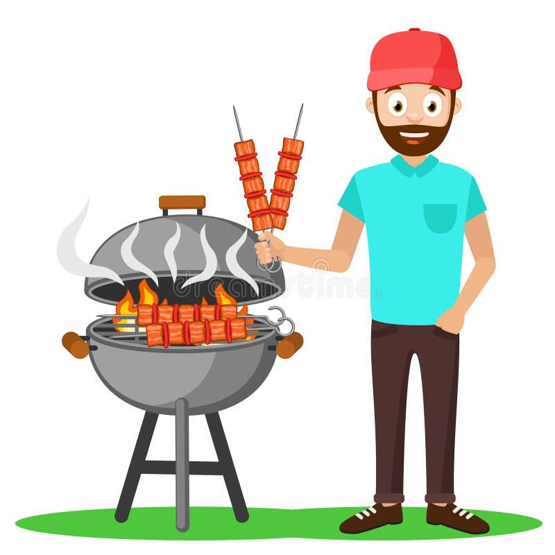 Mężczyzna w nakrętce smaży mięsnych kebabs grill ilustracji