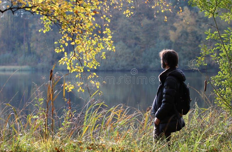 Mężczyzna w naturze, Niski Saxony, Niemcy zdjęcia royalty free