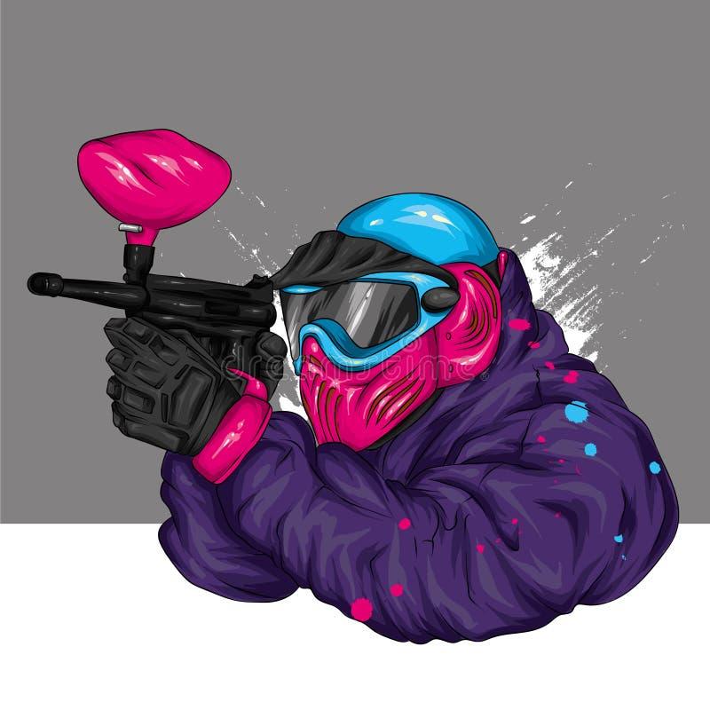 Mężczyzna w odzieżowym i akcesoria dla paintball Strzelać, bronie i farba, Stubarwna ilustracja ilustracja wektor