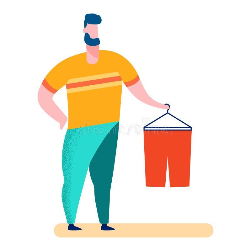 Mężczyzna w Odzieżowym sklepie, centrum handlowe wektoru ilustracja ilustracji