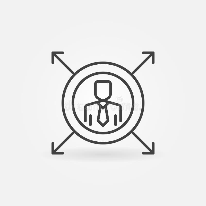 Mężczyzna w okręgu z strzała kreskową ikoną Wektorowy liniowy symbol royalty ilustracja