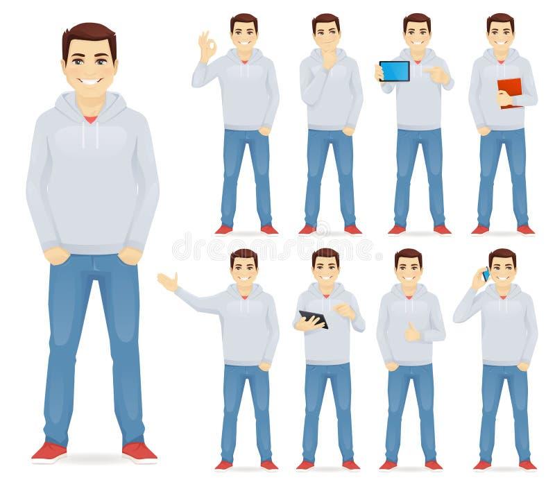 Mężczyzna w przypadkowym stroju secie ilustracja wektor
