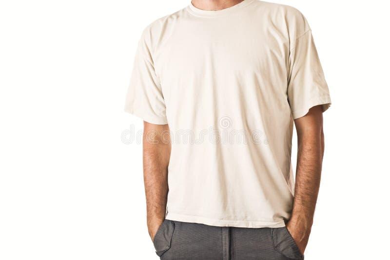 Mężczyzna w pustej białej koszulce zdjęcia stock
