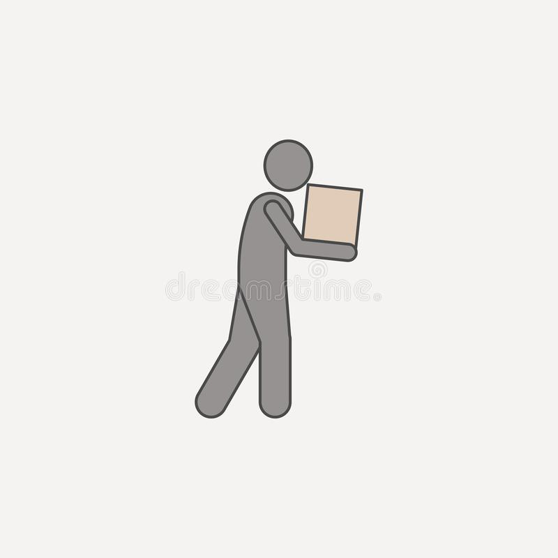 mężczyzna w ręce niesie pudełka 2 barwiącą kreskową ikonę Prosta barwiona element ilustracja mężczyzna w ręce niesie pudełkowateg ilustracji