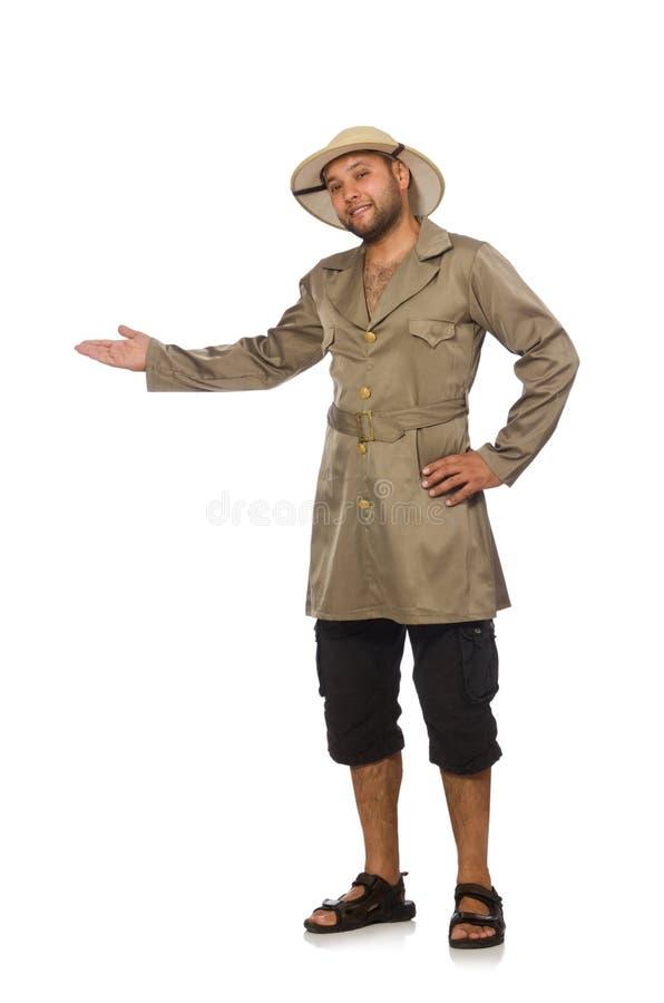Mężczyzna w safari kapeluszu odizolowywającym na bielu zdjęcia stock