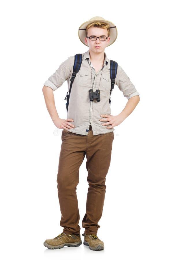 Mężczyzna w safari kapeluszu w polowaniu fotografia stock
