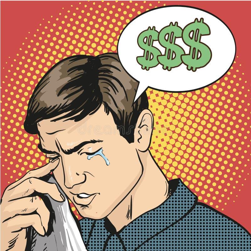 Mężczyzna w stresie i płaczu Wektorowa ilustracja w komicznym retro wystrzał sztuki stylu ilustracja wektor