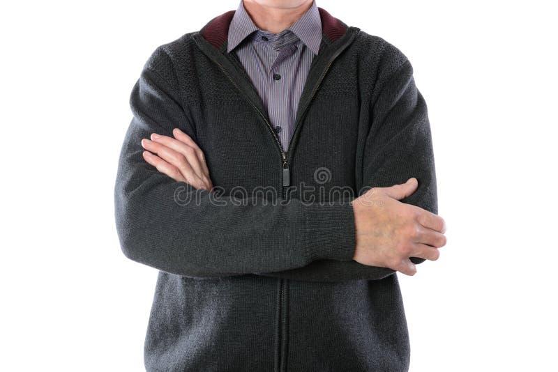 Mężczyzna w szarej kurtce i pasiastej koszula zdjęcie stock
