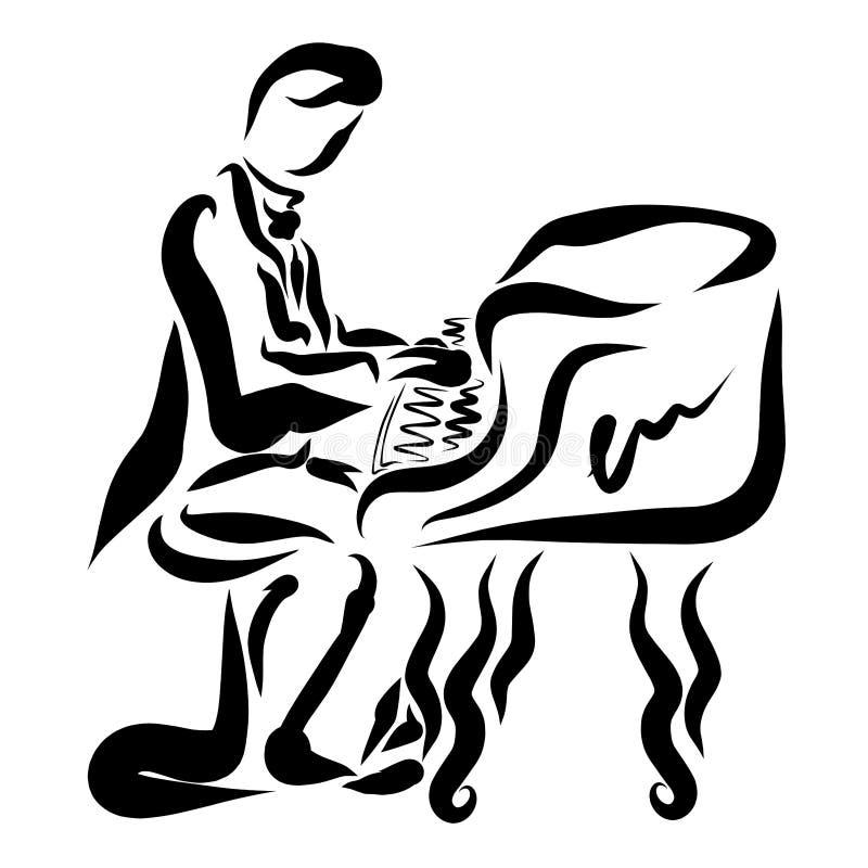 Mężczyzna w tailcoat bawić się pianino, muzyka klasyczna, czarny patt royalty ilustracja
