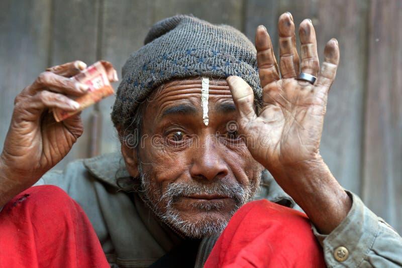 Mężczyzna w ubóstwie, Nepal zdjęcia stock