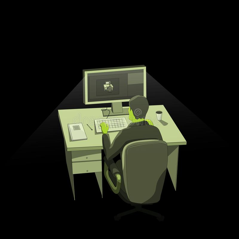 Mężczyzna w zmroku przy nocą pracuje przy komputerem samotnie royalty ilustracja