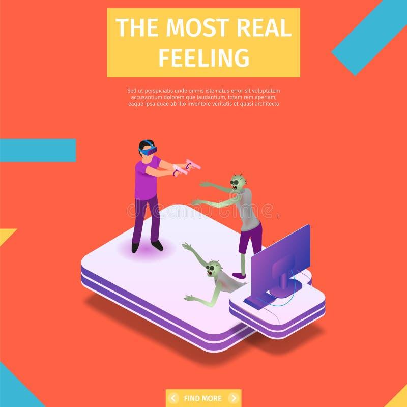 Mężczyzna Walczy z Komputerowymi potworami w VR gogle ilustracji