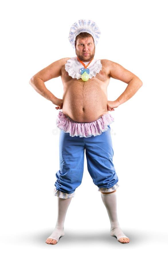 Mężczyzna weared jako dziecko folujący ciało zdjęcie stock