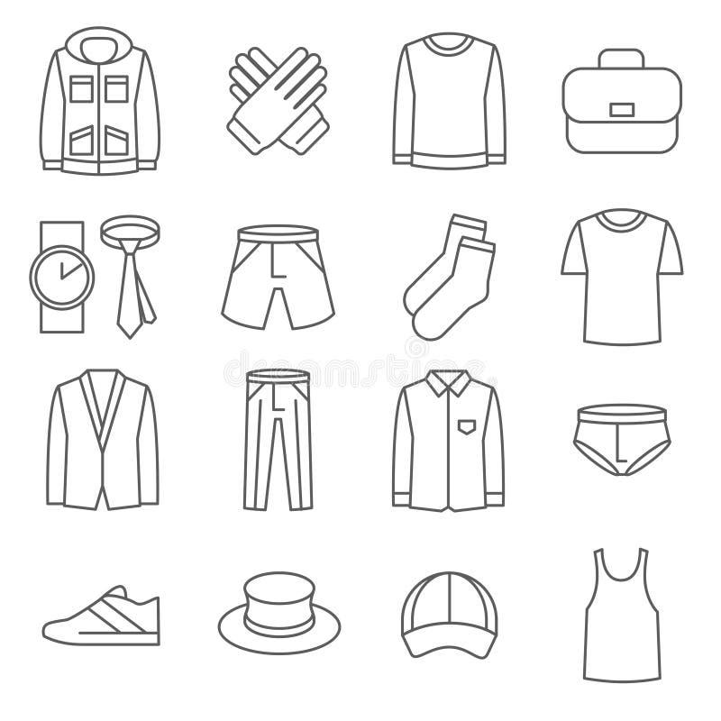 Mężczyzna wektoru linii odzieżowe ikony ustawiać ilustracja wektor