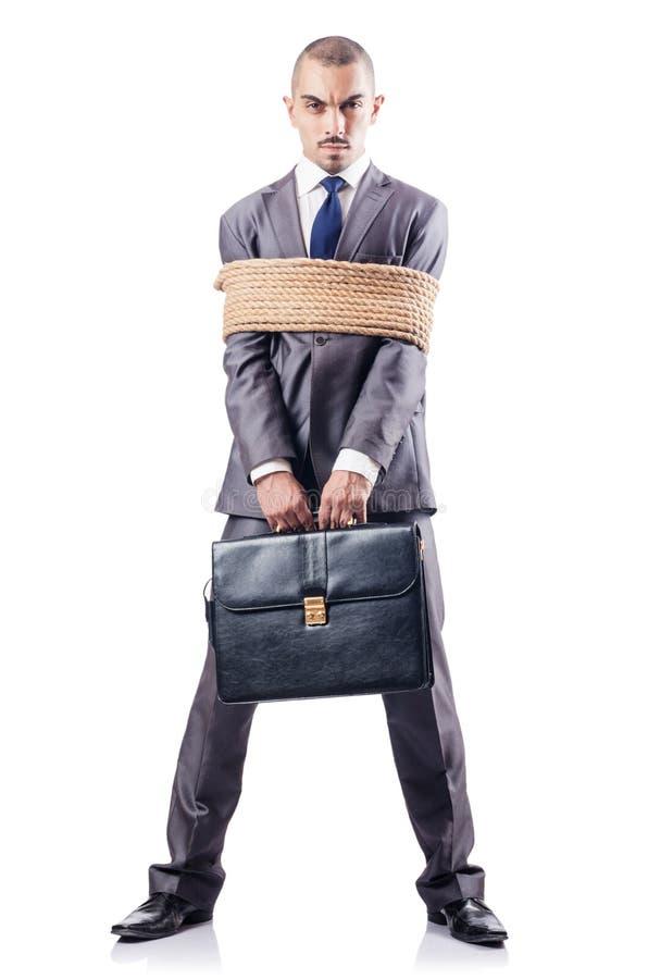 Mężczyzna wiążący up z arkaną zdjęcia royalty free