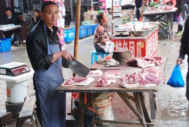 mężczyzna wieprzowiny sprzedawanie zdjęcia stock