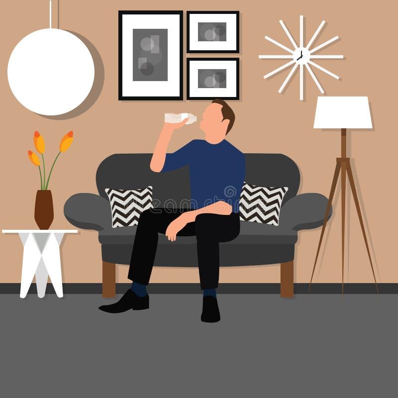 Mężczyzna wody pitnej od butelki obsiadania krzesła kanapy żywego izbowego wnętrza ludzie ilustracji