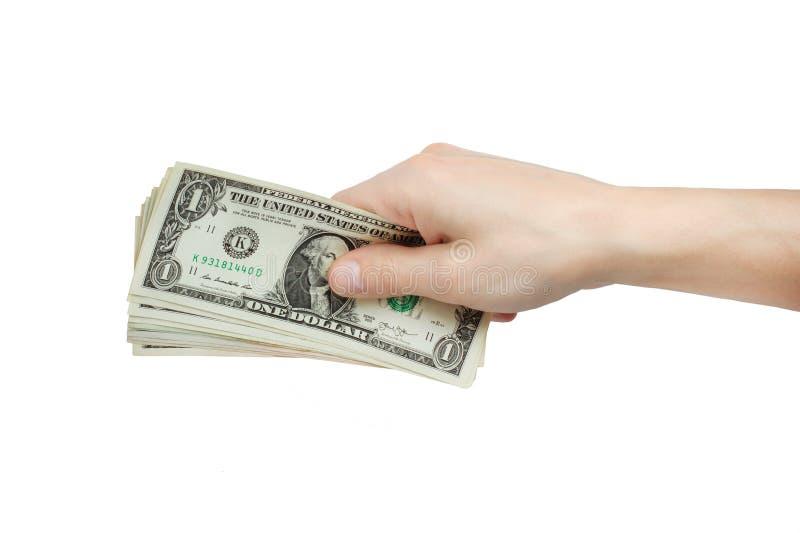 Mężczyzna wręczają dawać pieniądze odizolowywają na bielu obraz stock