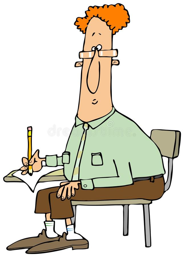 Mężczyzna writing przy studenckim biurkiem royalty ilustracja
