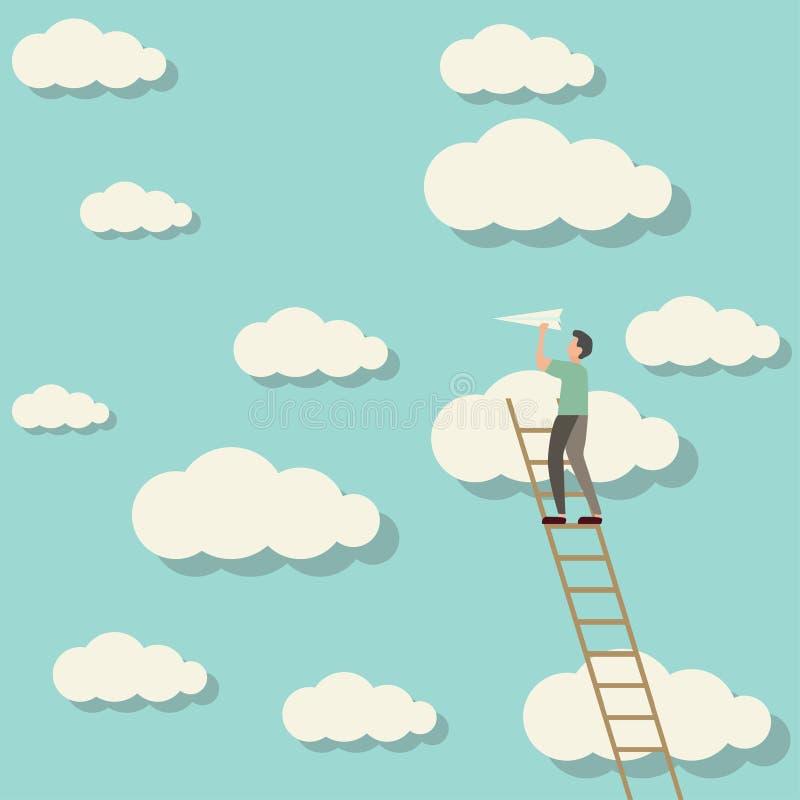 mężczyzna wspina się niebo wszczyna papieru samolot ilustracja wektor