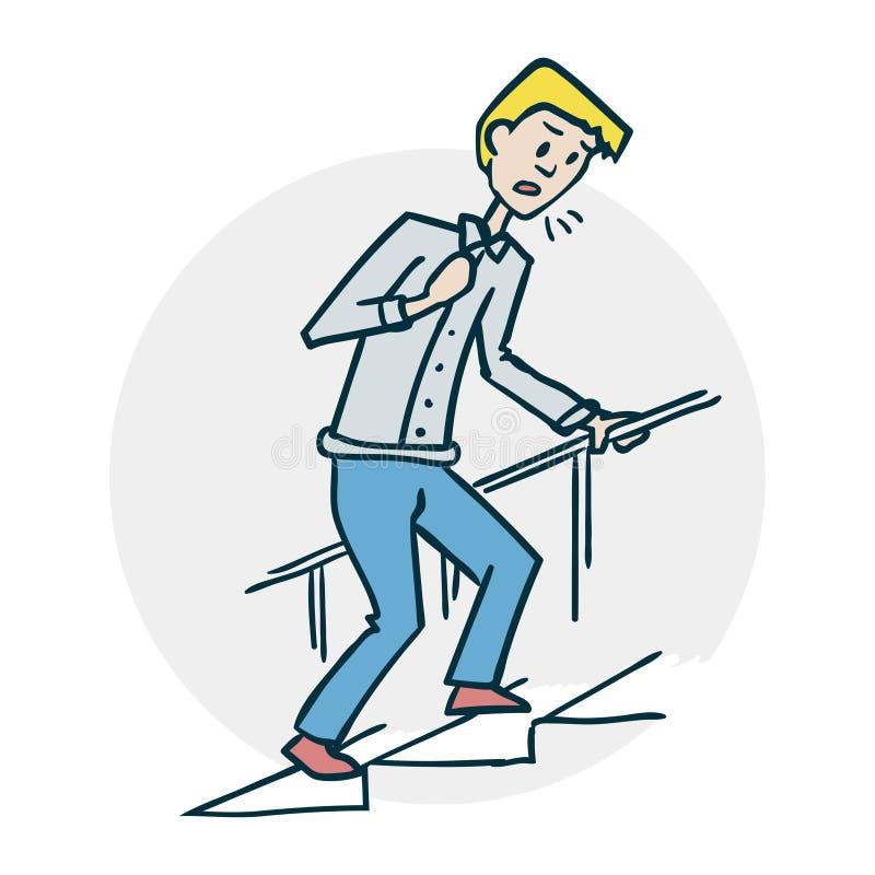 Mężczyzna wspina się schodki ilustracja wektor